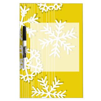 モダンな黄色およびホワイトクリスマスの白の雪片 ホワイトボード