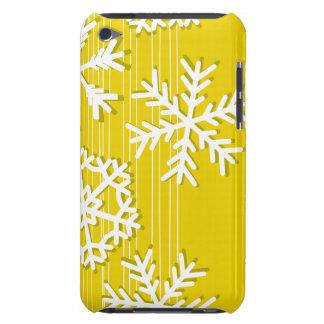モダンな黄色およびホワイトクリスマスの白の雪片 Case-Mate iPod TOUCH ケース