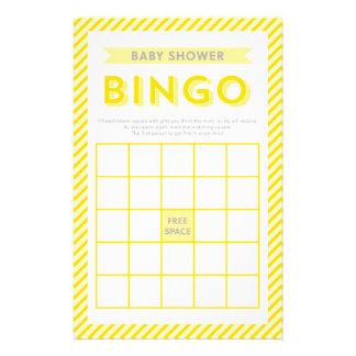 モダンな黄色のストライプのベビーシャワーのビンゴのゲーム 便箋