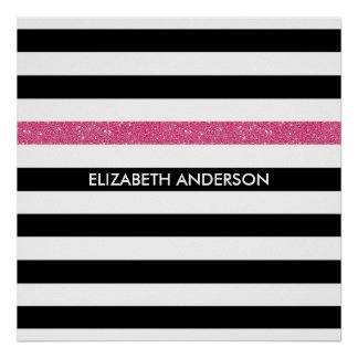 モダンな黒のストライプの模造のなピンクの輝きおよび名前 プリント
