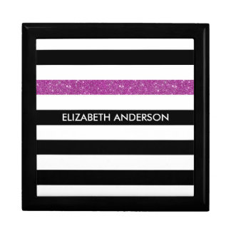 モダンな黒のストライプの模造のな紫色の輝きおよび名前 ギフトボックス