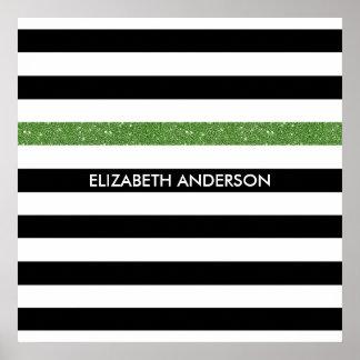 モダンな黒のストライプの模造のな緑の輝きおよび名前 ポスター