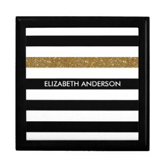 モダンな黒のストライプの模造のな金ゴールドの輝きおよび名前 ギフトボックス