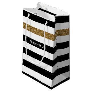 モダンな黒のストライプの模造のな金ゴールドの輝きおよび名前 スモールペーパーバッグ