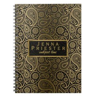 モダンな黒及び金ゴールドのヴィンテージのペイズリーパターン ノートブック