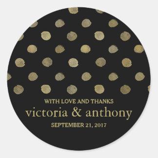 モダンな黒及び金ゴールドの水玉模様の結婚は感謝していしています ラウンドシール