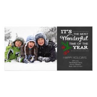 モダンな黒板のタイポグラフィの休日の写真カード カード