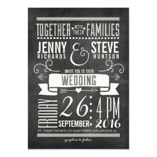 モダンな黒板の結婚式招待状 カード