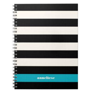 モダンな黒、クリーム及びターコイズのストライプ ノートブック