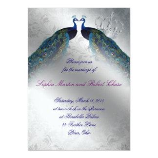 モダンな767孔雀の結婚式の招待の青い銀製のヴィンテージ カード