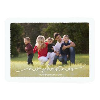 モダンなDeckleメリーなChrismtasの写真カード 12.7 X 17.8 インビテーションカード