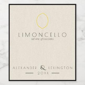 モダンなLimoncelloの結婚式の引き出物のボトルのラベル| ワインラベル