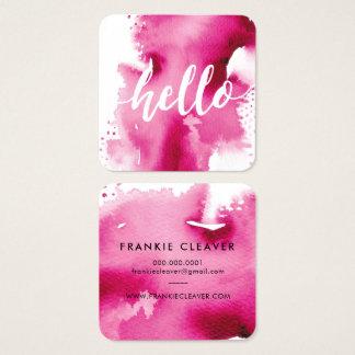 モダンのこんにちは原稿の芸術品を気取ったな水彩画のしぶきのピンク スクエア名刺