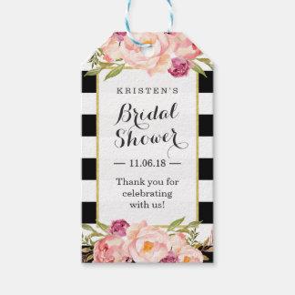 モダンのストライプな花の装飾のブライダルシャワーの好意 ギフトタグ