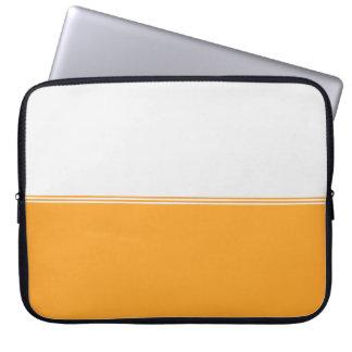 モダンのストライプのオレンジ金ゴールドのカスタム15インチ ラップトップスリーブ