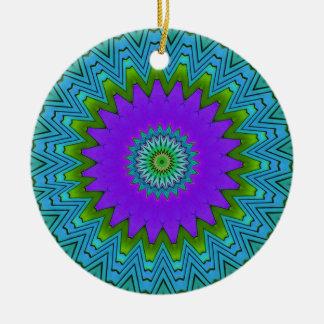 モダンのポップ・アートのな紫色の緑曼荼羅 セラミックオーナメント