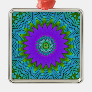 モダンのポップ・アートのな紫色の緑曼荼羅 メタルオーナメント
