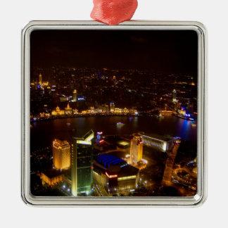 モダンの上海の中国のすばらしいスカイライン シルバーカラー正方形オーナメント