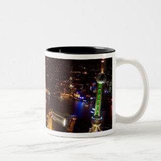 モダンの上海の中国のすばらしいスカイライン ツートーンマグカップ