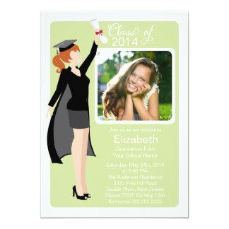 モダンの大学院の女の子の写真の卒業パーティーの招待 12.7 X 17.8 インビテーションカード