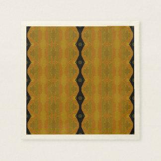 モダンの抽象的で黒い金ゴールドのオリーブ スタンダードカクテルナプキン
