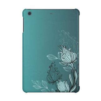 モダンの抽象的なティール(緑がかった色)の花柄 iPad MINI RETINAケース