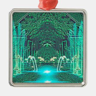モダンの抽象的なティール(緑がかった色)水噴水のファンタジー メタルオーナメント