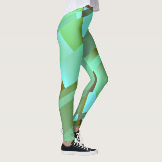 モダンの抽象的なパステル調の緑 レギンス