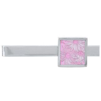 モダンの抽象的なピンクのヒマワリパターン 銀色 ネクタイピン