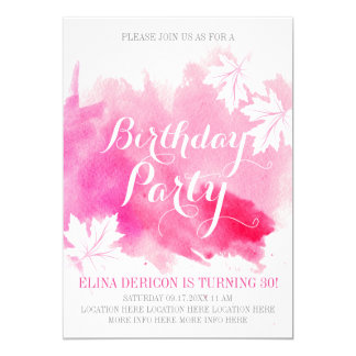 モダンの抽象的な水彩画のピンクの誕生会 12.7 X 17.8 インビテーションカード