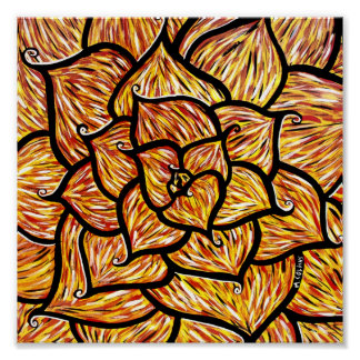 モダンの抽象的な花の花びら ポスター