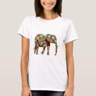 モダンの抽象的な茶色象 Tシャツ