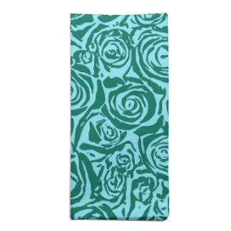 モダンの抽象芸術のばら色パターン、ティール(緑がかった色)および水 ナプキンクロス