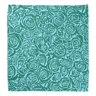 モダンの抽象芸術のばら色パターン、ティール(緑がかった色)および水 バンダナ