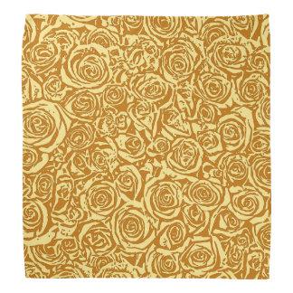 モダンの抽象芸術のばら色パターン、マスタードの黄色 バンダナ