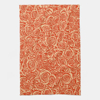 モダンの抽象芸術のばら色パターン、マンダリンオレンジ キッチンタオル