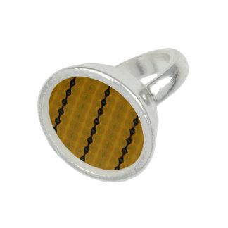 モダンの抽象芸術は黒、金ゴールドおよびオリーブで縞で飾ります リング