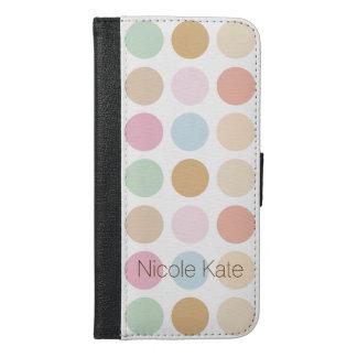 モダンの素晴らしい水玉模様のパステルカラー iPhone 6/6S PLUS ウォレットケース