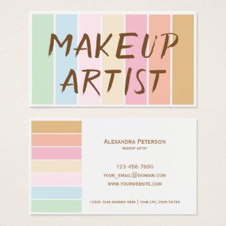 モダンの素晴らしい色のパステル調のパレットのメーキャップアーティスト 名刺