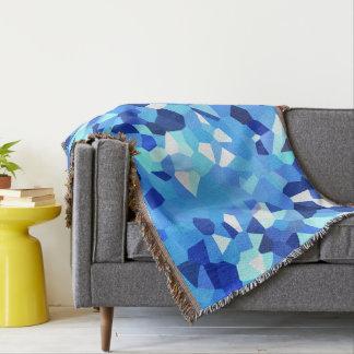 モダンの-青および白い多角形の形の抽象芸術 スローブランケット
