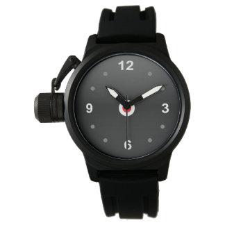 モダンは王冠の保護装置の黒のゴム製腕時計を遊ばします 腕時計