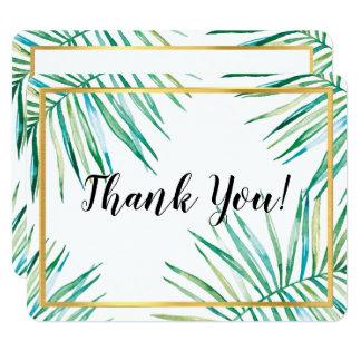 モダンは豪華な熱帯シュロの葉の群葉感謝していしています カード