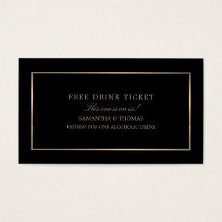モダン及びお洒落、黒い及び金ゴールド、自由な飲み物のチケット 名刺