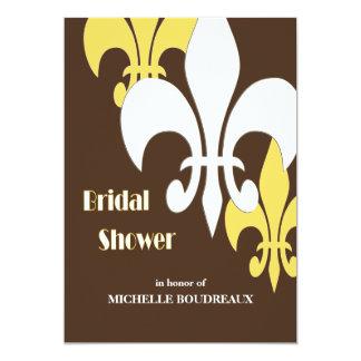 モダン3の(紋章の)フラ・ダ・リのブライダルシャワーの黄色ブラウン カード