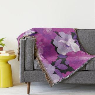 モダン、バラ、ラベンダー、紫色、ピンク、エレガントなマグノリア スローブランケット