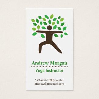 モダン、ヨガの健康インストラクター、木 名刺