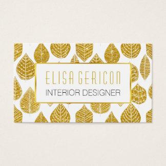 モダン、粋な金ゴールドのグリッターの広い葉パターン 名刺
