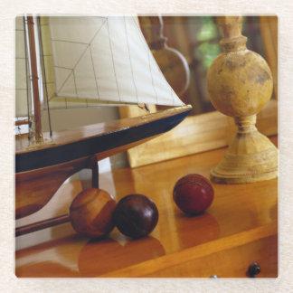 モデルヨットによるテーブルの旧式な野球 ガラスコースター