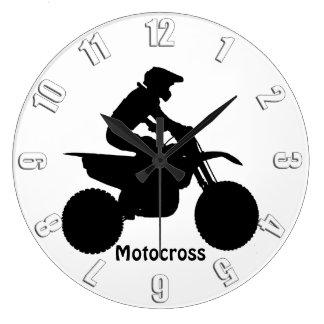 モトクロスのライダーのシルエット ラージ壁時計