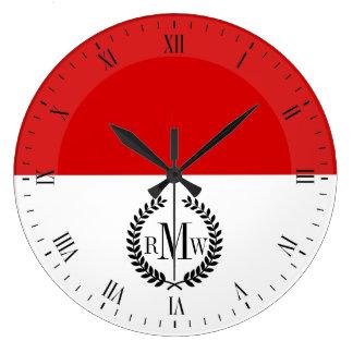 モナコの旗 ラージ壁時計